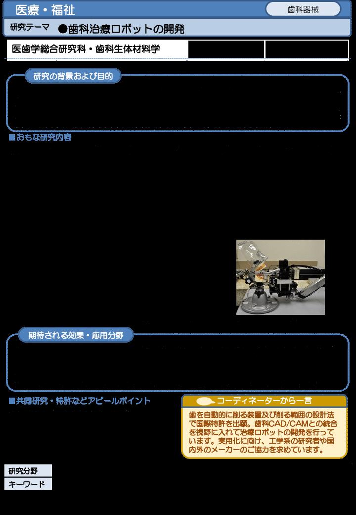 歯科治療ロボットの開発
