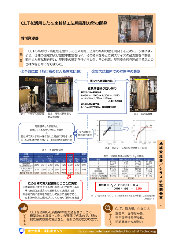 CLTを活用した在来軸組工法用高耐力壁の開発