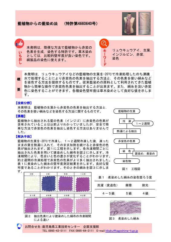 藍植物からの藍染め法(特許第4660640号)