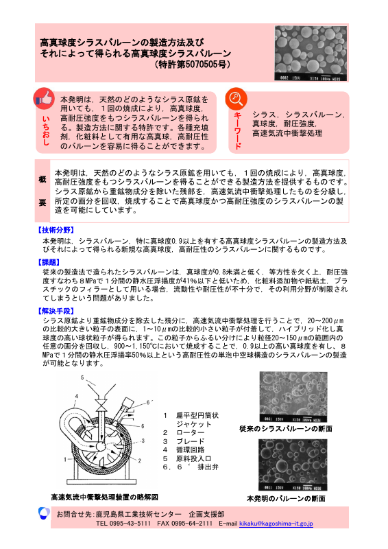 高真球度シラスバルーンの製造方法及び それによって得られる高真球度シラスバルーン (特許第5070505号)