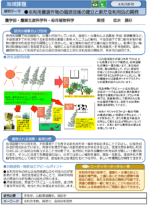 未利用資源作物の栽培技術の確立と新たな利用法の開発