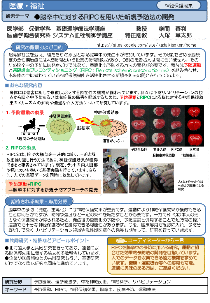 脳卒中に対するRIPCを用いた新規予防法の開発
