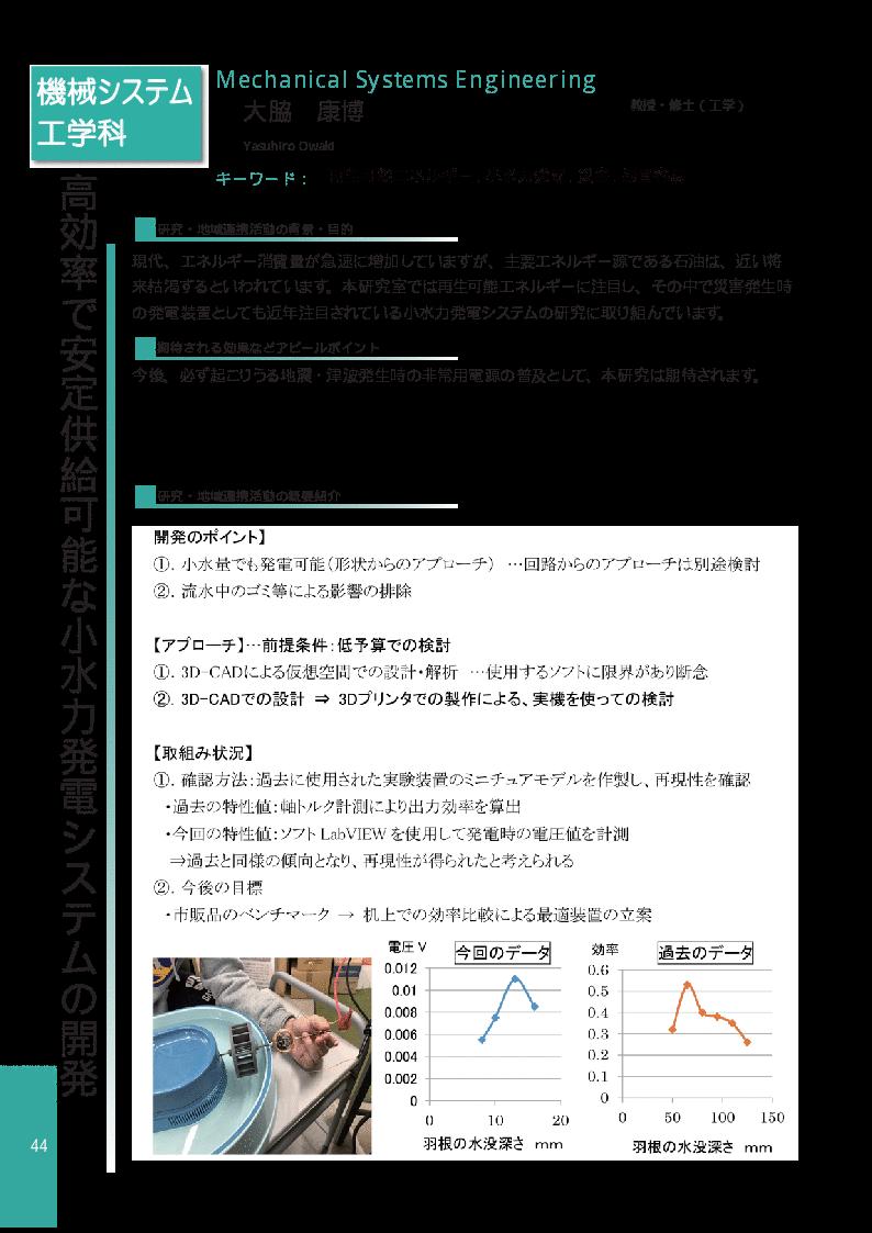 高効率で安定供給可能な小水力発電システムの開発
