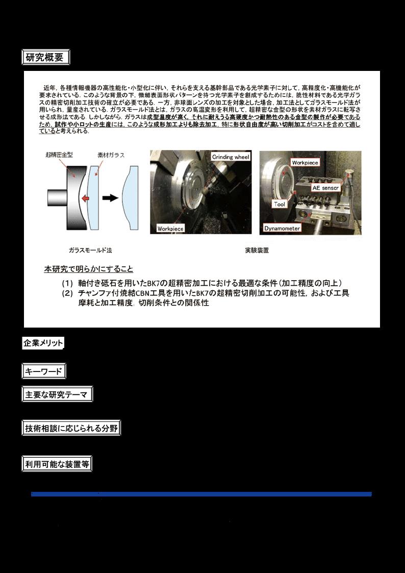 光学ガラスBK7の精密加工