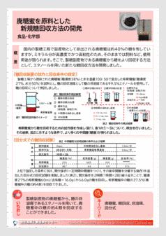 廃糖蜜を原料とした 新規糖回収方法の開発